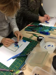 coloured glass pictures being made